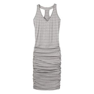 Athleta grey striped racerback rouched dress
